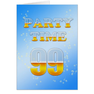 99th birthday party invitation with lots of beer cards