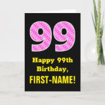 "[ Thumbnail: 99th Birthday: Pink Stripes and Hearts ""99"" + Name Card ]"