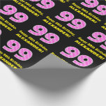 """[ Thumbnail: 99th Birthday: Pink Stripes and Hearts """"99"""" + Name Wrapping Paper ]"""