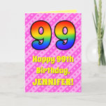 [ Thumbnail: 99th Birthday: Pink Stripes & Hearts, Rainbow # 99 Card ]