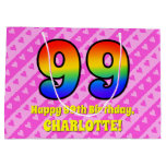 [ Thumbnail: 99th Birthday: Pink Stripes & Hearts, Rainbow # 99 Gift Bag ]