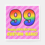 [ Thumbnail: 99th Birthday: Pink Stripes & Hearts, Rainbow # 99 Napkins ]