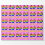 [ Thumbnail: 99th Birthday: Pink Stripes & Hearts, Rainbow # 99 Wrapping Paper ]