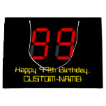 "[ Thumbnail: 99th Birthday: Red Digital Clock Style ""99"" + Name Gift Bag ]"