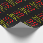 """[ Thumbnail: 99th Birthday: Red Digital Clock Style """"99"""" + Name Wrapping Paper ]"""