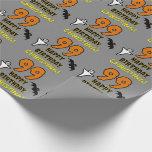 [ Thumbnail: 99th Birthday: Spooky Halloween Theme, Custom Name Wrapping Paper ]