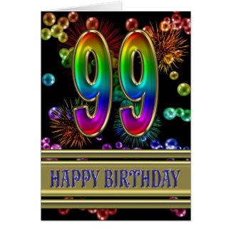 99th Birthday with rainbow bubbles and fireworks Greeting Card