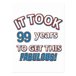 99th year birthday designs postcard