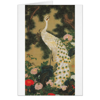 9. 老松孔雀図, 若冲 Old Pine-tree and Peacock, Jakuchu Card