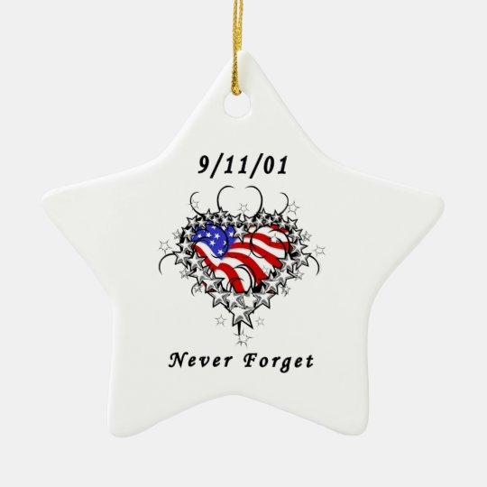 9/11/01 Patriotic Tattoo Ceramic Ornament