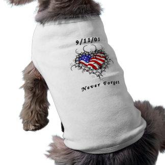 9/11/01 Patriotic Tattoo Pet T Shirt