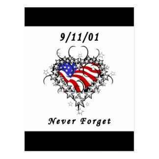 9/11/01 Patriotic Tattoo Postcard