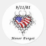 9/11/01 Patriotic Tattoo Round Stickers