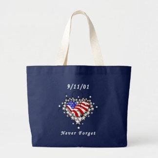 9/11/01 tatuaje patriótico bolsa de tela grande