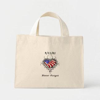 9/11/01 tatuaje patriótico bolsa de tela pequeña