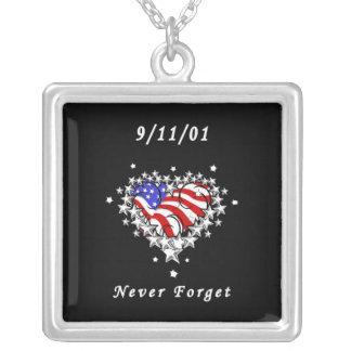9/11/01 tatuaje patriótico colgante cuadrado