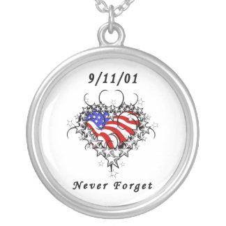 9/11/01 tatuaje patriótico colgante redondo