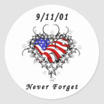 9/11/01 tatuaje patriótico pegatina redonda