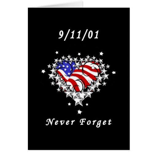 9/11/01 tatuaje patriótico tarjeta pequeña