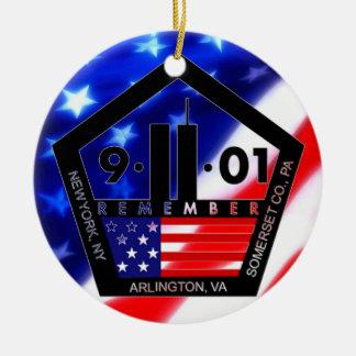 9-11 10mo aniversario conmemorativo adorno navideño redondo de cerámica
