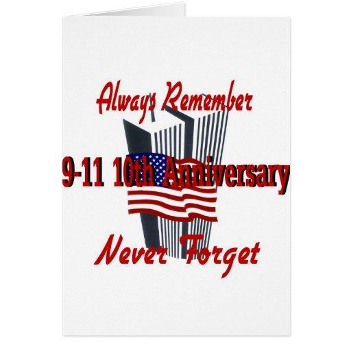 9-11 10mo aniversario conmemorativo tarjeta de felicitación