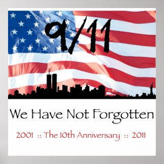 9/11 10mo aniversario WTC y la bandera Póster