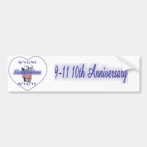 9-11 10th Anniversary Remembrance Bumper Sticker