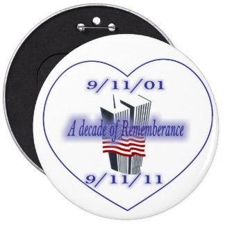 9-11 10th Anniversary Remembrance Button