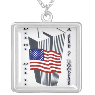 9-11 10th Anniversary Remembrance Silver Plated Necklace