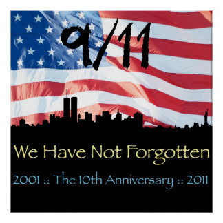 9/11 10th Anniversary WTC and the Flag Print