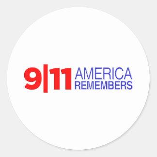 9/11 America Remembers Classic Round Sticker