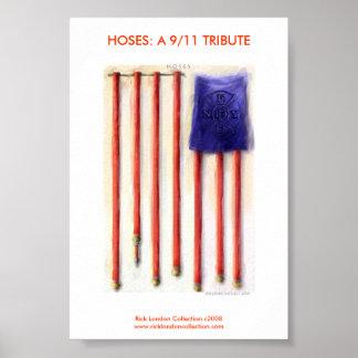 9/11 American Flag Firefighter Framed Print