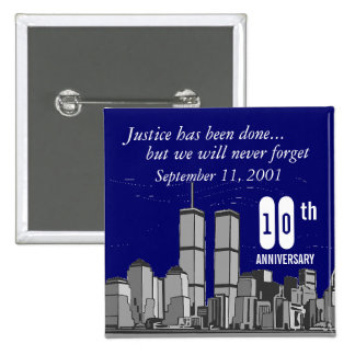 9-11 décimo aniversario pin cuadrada 5 cm
