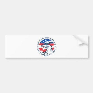 9-11 Eagle Head World Trade Center American Flag Car Bumper Sticker