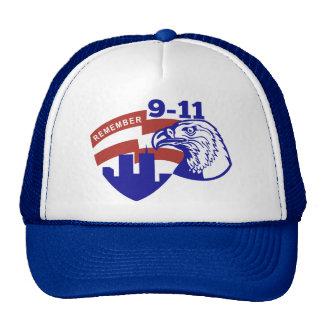 9-11 Eagle Head World Trade Center American Flag Trucker Hats