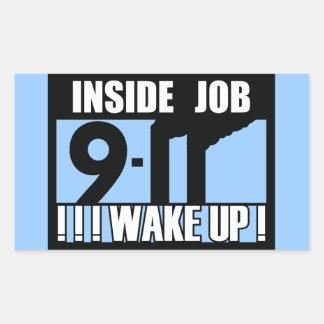 9-11 el TRABAJO INTERIOR DESPIERTA - 911 la Pegatina Rectangular