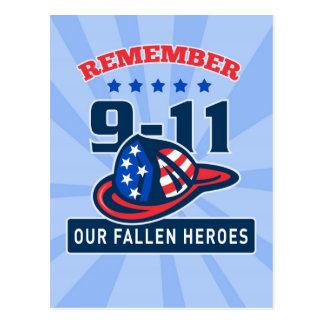 9-11 Firefighter Fireman Helmet American Flag Post Cards