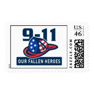 9-11 fireman firefighter hat american flag stamp