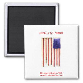 9 11 imán del monumento del bombero de la bandera