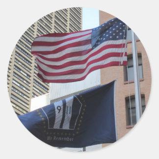 9/11 Memorial Flags Classic Round Sticker