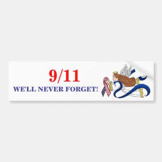 9/11 Memorial Ribbon Angel Car Bumper Sticker