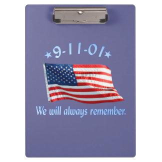 9-11 Memorial We Will Always Remember Clipboard