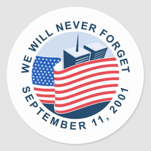 9/11 memorial with american flag and twin towers classic round sticker