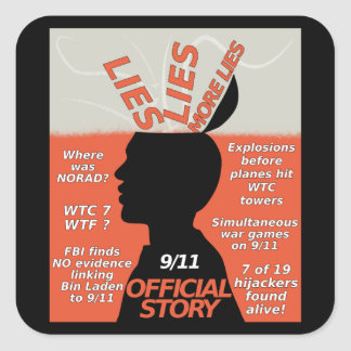 9-11 mentiras oficiales de la historia de la pegatina cuadrada