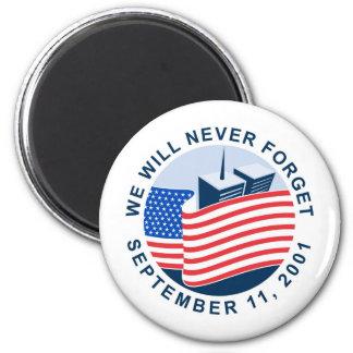 9 11 monumento con la bandera americana y las torr imán de frigorífico