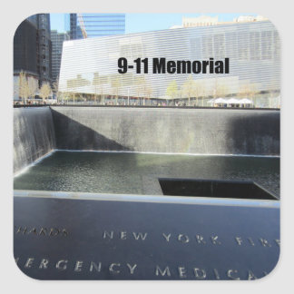 9-11 monumento pegatina cuadrada