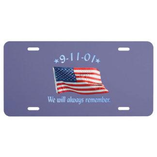 9-11 monumento que recordaremos siempre placa de matrícula