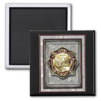 """9/11 Never Forget"" 2 Inch Square Magnet"