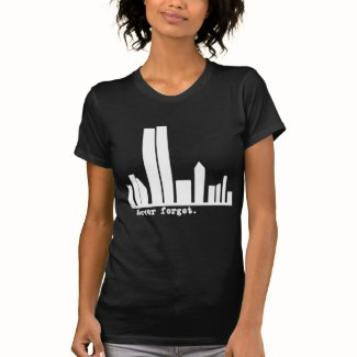 9-11 Never Forget NY Skyline Tshirts, Buttons