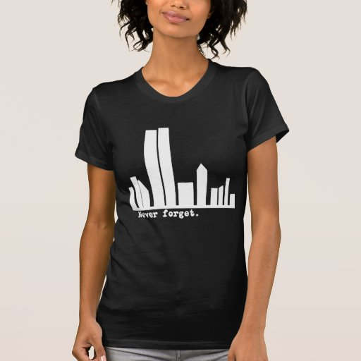 9-11 Never Forget NY Skyline Tshirts, Buttons Tshirt